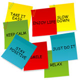 Sheets of paper with motivational and positive thinking messages. On white background Stock Photo