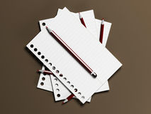 The sheets of paper and the pencils Royalty Free Stock Images