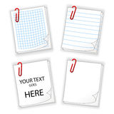 Sheets of paper with red clip Stock Photos