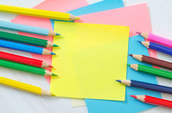 Sheets and pencils Royalty Free Stock Image