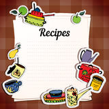 Sheets for recording recipes. Kitchenware. Vector stickers kitchen utensils. Vector set. Sheets for recording recipes. Vector illustration Stock Image