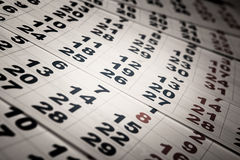 Sheets of wall calendar with the number of days Royalty Free Stock Images