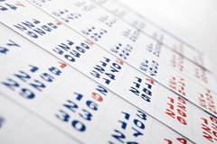 Sheets of wall calendar with the number of days Stock Image