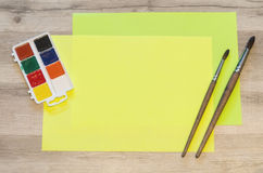 Sheets of yellow paper Stock Images