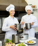 Shef and assistant preparing meal Stock Photography
