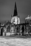 Sheffield Cathedral by night black and white photography. ENGLAND, SHEFFIELD - 15 NOV 2015: Sheffield Cathedral by night black and white photography Royalty Free Stock Photos