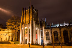 Sheffield Cathedral by night. ENGLAND, SHEFFIELD - 15 NOV 2015: Sheffield Cathedral by night stock photos