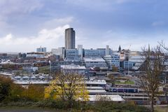 Sheffield city centre, view from Park Hill. Autumn view of the centre of Sheffield, a combination of tower blocks and older architecture stock image