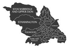 Sheffield city map England UK labelled black illustration. Sheffield city map England UK labelled black Stock Photography