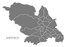 Sheffield city map with wards grey illustration silhouette shape. Sheffield city map with wards grey illustration silhouette Royalty Free Stock Image