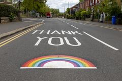 Thank You NHS Rainbow Painted in the Road