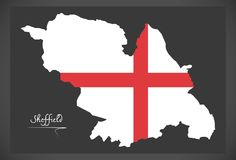 Sheffield map with English national flag illustration. Sheffield map with English national flag Royalty Free Stock Photo