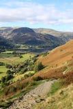 Sheffield Pike, Glenridding och Ullswater, Cumbria royaltyfri foto
