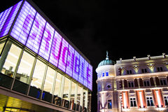 Sheffield theatres at night. Sheffield buildings in the night Royalty Free Stock Images