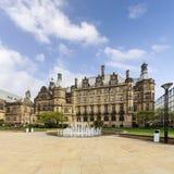 Sheffield Town Hall e fontana fotografia stock