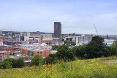 Sheffield UK. Sheffield - city in South Yorkshire, UK. Cityscape from South Street Park Stock Photos