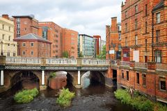 Sheffield UK. Sheffield - city in South Yorkshire, UK. River Don and old factories Stock Photos