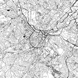 Sheffield, UK, Downtown Vector Map. Sheffield Downtown Vector Map Monochrome Artprint, Outline Version for Infographic Background, Black Streets and Waterways stock illustration