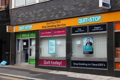 Stop smoking clinic. SHEFFIELD, UK - JULY 10, 2016: Quit-Stop clinic for stopping the smoking habit in Sheffield, Yorkshire, UK. It is part of NHS - the National royalty free stock photo