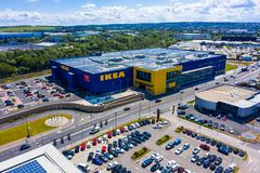SHEFFIELD, UK - 6TH JUNE 2019: Aerial shot of the large new Ikea Store built on the outskirts of Sheffield royalty free stock photography