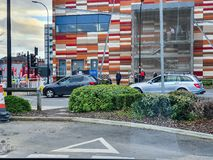 SHEFFIELD, UK - 19TH MARCH 2019: Tesco Extra - Savile Street - is closed by police due to a major incident stock photography