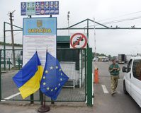 Shegyni, Ukraine - June 11, 2017: Shegyni-Medyka checkpoint on t. He border with Ukraine and Poland some 100kms from Ukrainian city of Lviv Stock Images