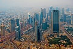 Sheik Zayed Road. Night view at main street in Dubai Royalty Free Stock Photo