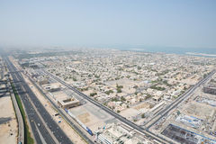Sheik zayed road photographed from the al hikma tower rooftop, uae Royalty Free Stock Photography