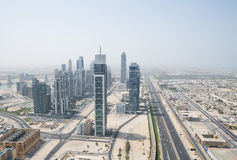 Sheik zayed road photographed from the al hikma tower rooftop, uae Stock Photography
