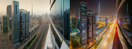 Sheik Zayed, UAE at night and day. Aerial view of highway in Sheikh Zayed, United Arab Emirates in day and illuminated at night stock image