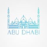 sheikh μουσουλμανικών τεμενώ&n Διανυσματικό Abu Dabhi, ορόσημο Ε.Α.Ε. Σύγχρονο γραμμικό μινιμαλιστικό εικονίδιο Μια έννοια επίσκε διανυσματική απεικόνιση