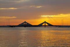 Sheikh Isa Bin Salman causeway Bridge during dusk, HDR Stock Photo