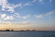Sheikh Isa Bin Salman causeway Bridge during sunset Royalty Free Stock Photography