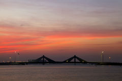 Sheikh Isa Bin Salman causeway Bridge during sunset Royalty Free Stock Photo
