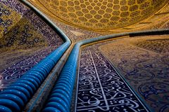 Sheikh Lotf Allah Mosque. Interior tile works of the Sheikh Lotf Allah Mosque. This Mosque is one of the architectural masterpieces of Safavid Iranian royalty free stock photos