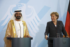 Sheikh Mohammed bin Rashid al Maktoun, Angela Merkel Royalty Free Stock Photo