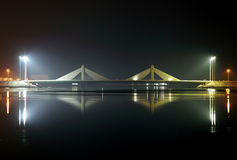 Sheikh Salman Causeway bridge, the design with two sail-like str Royalty Free Stock Images