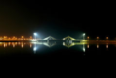 Sheikh Salman Causeway bridge, the design with two sail-like str Royalty Free Stock Photography