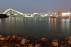Sheikh Zayed Bridge at night royalty free stock images