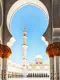 Sheikh Zayed Grand Mosque Abu Dhabi alla luce solare di pomeriggio Fotografia Stock Libera da Diritti