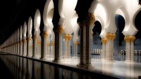 Sheikh Zayed Grand Mosque - Abu Dhabi alla vista di notte fotografia stock libera da diritti