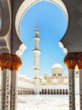 Sheikh Zayed Grand Mosque Abu Dhabi na luz solar da tarde Imagem de Stock