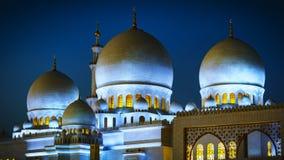 Sheikh Zayed Grand Mosque in Abu Dhabi nachts 1 Lizenzfreie Stockfotografie