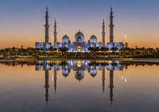 Sheikh Zayed Grand Mosque Abu Dhabi at sunset Royalty Free Stock Photos