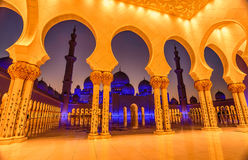 Sheikh Zayed Grand Mosque in Abu Dhabi, UAE nachts Stockfotografie