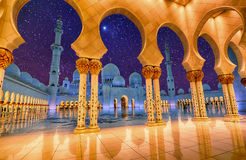 Sheikh Zayed Grand Mosque in Abu Dhabi, UAE at night Royalty Free Stock Photos
