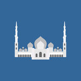 Sheikh Zayed Grand Mosque in Abu Dhabi. Vector flat sign silhoue Royalty Free Stock Image