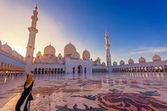 Sheikh Zayed Grand Mosque Abudhabi. Abudhabi, UAE - January 11, 2019: Sheikh Zayed Grand Mosque is the largest mosque in the country. During Eid, it may be royalty free stock photo