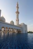 Sheikh Zayed Grand Mosque bei Sonnenuntergang Stockfotografie
