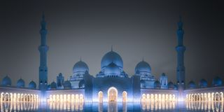 Sheikh Zayed Grand Mosque bij nacht Abu Dhabi, de V.A.E stock afbeelding